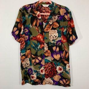 Vintage   80's Floral Leaf Print Collar Blouse